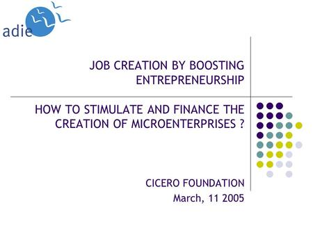 JOB CREATION BY BOOSTING ENTREPRENEURSHIP HOW TO STIMULATE AND FINANCE THE CREATION OF MICROENTERPRISES ? CICERO FOUNDATION March, 11 2005.