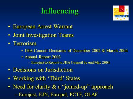 Influencing European Arrest WarrantEuropean Arrest Warrant Joint Investigation TeamsJoint Investigation Teams TerrorismTerrorism JHA Council Decisions.