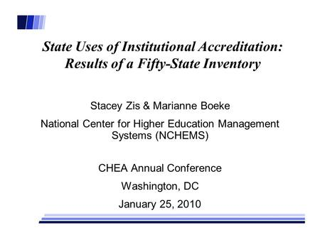 State Uses of Institutional Accreditation: Results of a Fifty-State Inventory Stacey Zis & Marianne Boeke National Center for Higher Education Management.