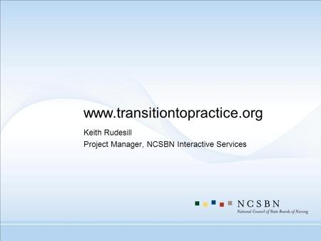 Www.transitiontopractice.org Keith Rudesill Project Manager, NCSBN Interactive Services.