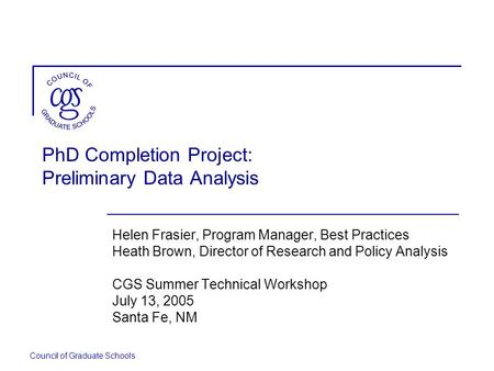 PhD Completion Project: Preliminary Data Analysis