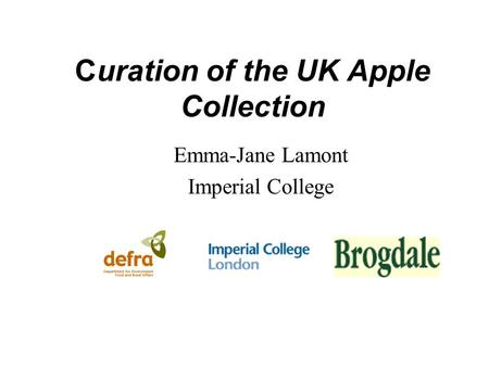 Curation of the UK Apple Collection