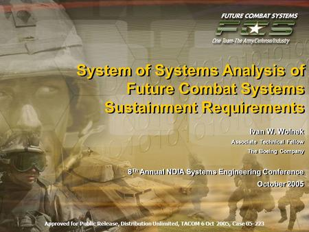 System of Systems Analysis of Future Combat Systems Sustainment Requirements Ivan W. Wolnek Associate Technical Fellow The Boeing Company 8 Th Annual NDIA.