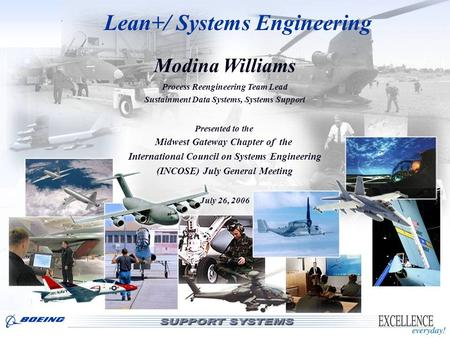LOGISTICS SUPPORT Lean+/ Systems Engineering Modina Williams Process Reengineering Team Lead Sustainment Data Systems, Systems Support Presented to the.