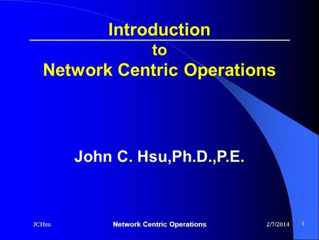 Network Centric Operations