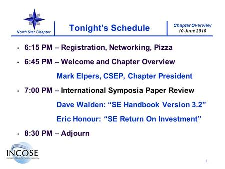 Chapter Overview 10 June 2010 North Star Chapter 1 Tonights Schedule 6:15 PM – Registration, Networking, Pizza 6:45 PM – Welcome and Chapter Overview Mark.