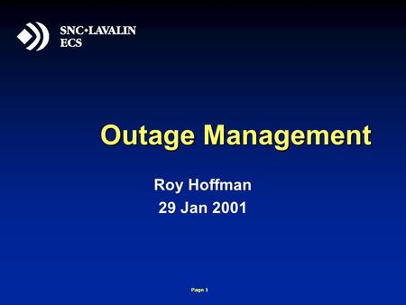 Page 1 Outage Management Roy Hoffman 29 Jan 2001.