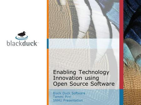Enabling Technology Innovation using Open Source Software Black Duck Software Tammi Pirri SNHU Presentation.