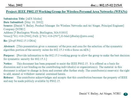 1 May, 2002 doc:.: 802.15-02/215r0 Daniel V. Bailey, Ari Singer, NTRU 1 Project: IEEE P802.15 Working Group for Wireless Personal Area Networks (WPANs)