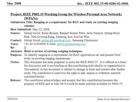 May 2008 doc.: IEEE 802.15-08-0286-02-0006 Giriraj Goyal, Samsung Electronics Submission Slide 1 Project: IEEE P802.15 Working Group for Wireless Personal.