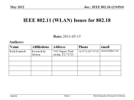 Doc.: IEEE 802.18-12/045r0 AgendaRich Kennedy, Research In Motion IEEE 802.11 (WLAN) Issues for 802.18 Date: 2011-05-15 Authors: May 2012 Slide 1.
