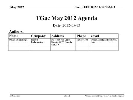 Doc.: IEEE 802.11-12/0561r1 Submission May 2012 Osama Aboul-Magd (Huawei Technologies)Slide 1 TGac May 2012 Agenda Date: 2012-05-13 Authors:
