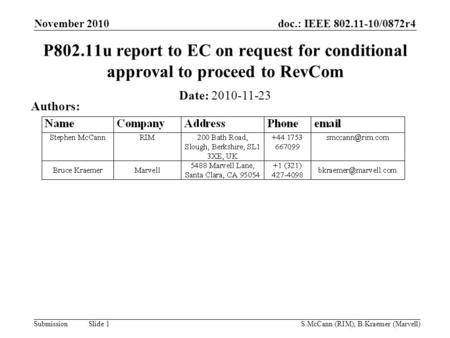Doc.: IEEE 802.11-10/0872r4 Submission November 2010 S.McCann (RIM), B.Kraemer (Marvell) Slide 1 P802.11u report to EC on request for conditional approval.