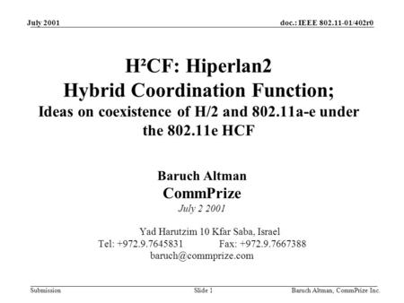 Doc.: IEEE 802.11-01/402r0 Submission July 2001 Baruch Altman, CommPrize Inc.Slide 1 H²CF: Hiperlan2 Hybrid Coordination Function; Ideas on coexistence.