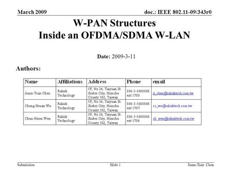Doc.: IEEE 802.11-09/343r0 Submission March 2009 Jiunn-Tsair ChenSlide 1 W-PAN Structures Inside an OFDMA/SDMA W-LAN Date: 2009-3-11 Authors: