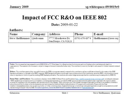 Sg-whitespace-09/0019r0 Submission January 2009 Steve Shellhammer, QualcommSlide 1 Impact of FCC R&O on IEEE 802 Date: 2009-01-22 Authors: Notice: This.