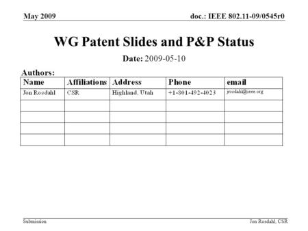 Doc.: IEEE 802.11-09/0545r0 Submission May 2009 Jon Rosdahl, CSR WG Patent Slides and P&P Status Date: 2009-05-10 Authors: