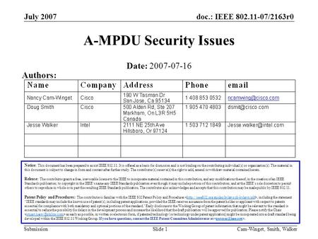 Doc.: IEEE 802.11-07/2163r0 Submission July 2007 Cam-Winget, Smith, WalkerSlide 1 A-MPDU Security Issues Notice: This document has been prepared to assist.
