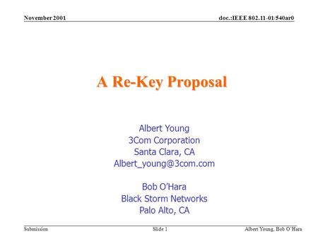 Doc.:IEEE 802.11-01/540ar0 Submission November 2001 Albert Young, Bob OHara Slide 1 A Re-Key Proposal Albert Young 3Com Corporation Santa Clara, CA