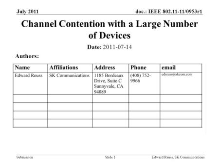 Doc.: IEEE 802.11-11/0953r1 Submission July 2011 Edward Reuss, SK CommunicationsSlide 1 Channel Contention with a Large Number of Devices Date: 2011-07-14.