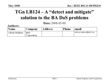 Doc.: IEEE 802.11-08/0562r0 Submission May 2008 Adrian Stephens, Intel CorporationSlide 1 TGn LB124 – A detect and mitigate solution to the BA DoS problems.