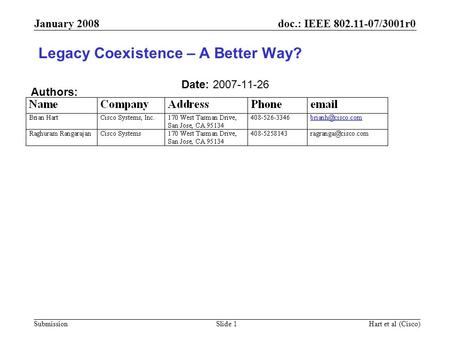 Doc.: IEEE 802.11-07/3001r0 Submission January 2008 Hart et al (Cisco)Slide 1 Legacy Coexistence – A Better Way? Date: 2007-11-26 Authors: