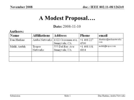 Doc.: IEEE 802.11-08/1263r0 Submission November 2008 Dan Harkins, Aruba NetworksSlide 1 A Modest Proposal…. Date: 2008-11-10 Authors: