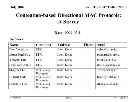 Doc.: IEEE 802.11-09/0796r0 SubmissionSlide 1 July 2009 W. Y. Lee et. al Contention-based Directional MAC Protocols: A Survey Date: 2009-07-14 Authors: