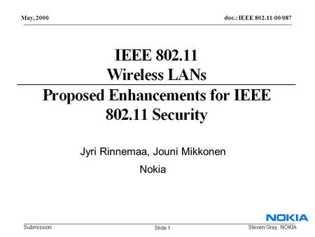 Doc.: IEEE 802.11-00/087 Submission May, 2000 Steven Gray, NOKIA Jyri Rinnemaa, Jouni Mikkonen Nokia Slide 1.