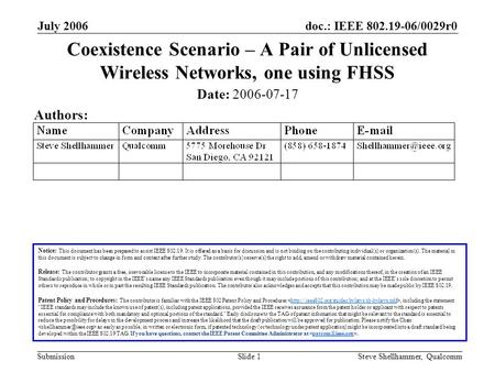 Doc.: IEEE 802.19-06/0029r0 Submission July 2006 Steve Shellhammer, QualcommSlide 1 Coexistence Scenario – A Pair of Unlicensed Wireless Networks, one.
