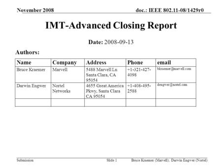 Doc.: IEEE 802.11-08/1429r0 Submission November 2008 Bruce Kraemer (Marvell); Darwin Engwer (Nortel)Slide 1 IMT-Advanced Closing Report Date: 2008-09-13.