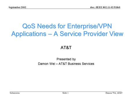 Doc.: IEEE 802.11-02/518r0 Submission September 2002 Damon Wei, AT&TSlide 1 QoS Needs for Enterprise/VPN Applications – A Service Provider View AT&T Presented.