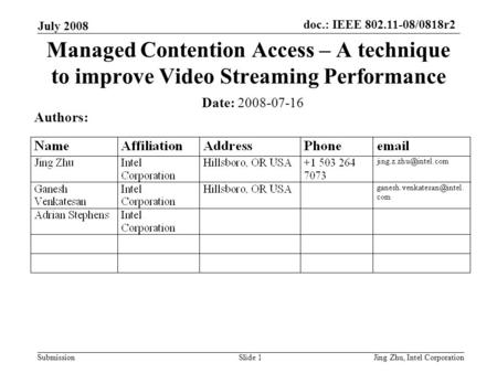 Doc.: IEEE 802.11-08/0818r2 Submission July 2008 Jing Zhu, Intel CorporationSlide 1 Managed Contention Access – A technique to improve Video Streaming.