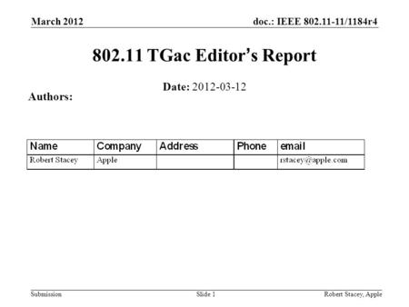 Doc.: IEEE 802.11-11/1184r4 Submission March 2012 Robert Stacey, AppleSlide 1 802.11 TGac Editors Report Date: 2012-03-12 Authors:
