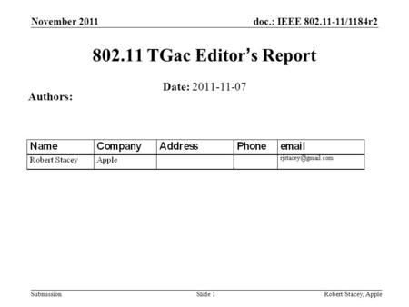 Doc.: IEEE 802.11-11/1184r2 Submission November 2011 Robert Stacey, AppleSlide 1 802.11 TGac Editors Report Date: 2011-11-07 Authors: