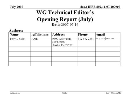 Doc.: IEEE 802.11-07/2079r0 Submission July 2007 Terry Cole, AMDSlide 1 WG Technical Editors Opening Report (July) Date: 2007-07-16 Authors: