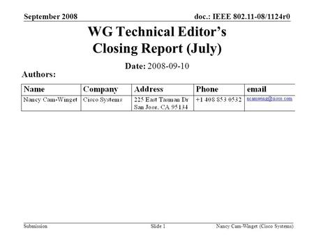 Submission doc.: IEEE 802.11-08/1124r0 Nancy Cam-Winget (Cisco Systems)Slide 1 WG Technical Editors Closing Report (July) Date: 2008-09-10 Authors: September.