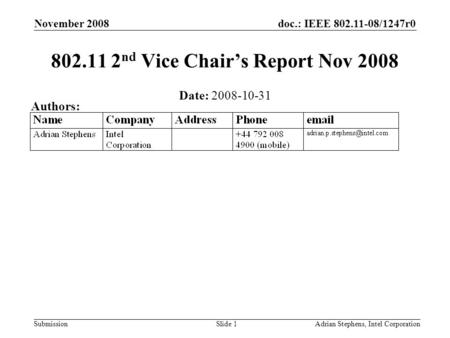 Doc.: IEEE 802.11-08/1247r0 Submission November 2008 Adrian Stephens, Intel CorporationSlide 1 802.11 2 nd Vice Chairs Report Nov 2008 Date: 2008-10-31.