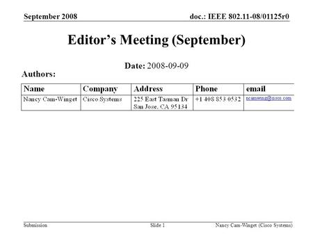 Submission doc.: IEEE 802.11-08/01125r0September 2008 Nancy Cam-Winget (Cisco Systems)Slide 1 Editors Meeting (September) Date: 2008-09-09 Authors: