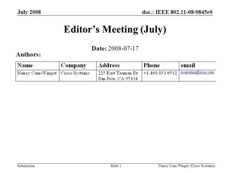 Submission doc.: IEEE 802.11-08/0845r0July 2008 Nancy Cam-Winget (Cisco Systems)Slide 1 Editors Meeting (July) Date: 2008-07-17 Authors: