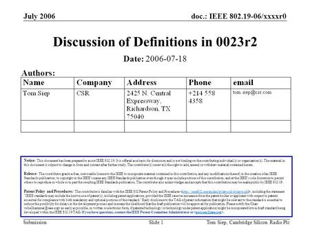 Doc.: IEEE 802.19-06/xxxxr0 Submission July 2006 Tom Siep, Cambridge Silicon Radio PlcSlide 1 Discussion of Definitions in 0023r2 Notice: This document.