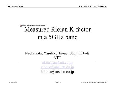 Doc.: IEEE 802.11-03/0884r0 Submission November 2003 N.Kita, Y.Inoue and S.Kubota, NTT Slide 1 Measured Rician K-factor in a 5GHz band Naoki Kita, Yasuhiko.