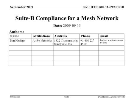 Doc.: IEEE 802.11-09/1012r0 Submission September 2009 Dan Harkins, Aruba NetworksSlide 1 Suite-B Compliance for a Mesh Network Date: 2009-09-15 Authors: