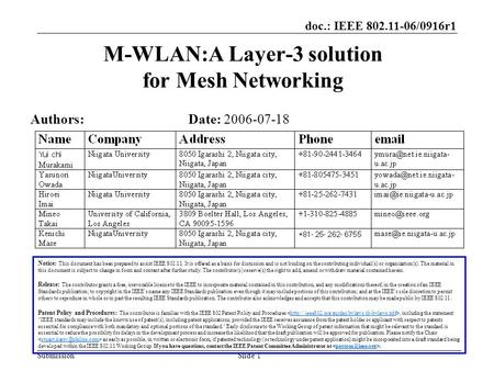 Doc.: IEEE 802.11-06/0916r1 SubmissionSlide 1 M-WLAN:A Layer-3 solution for Mesh Networking Notice: This document has been prepared to assist IEEE 802.11.