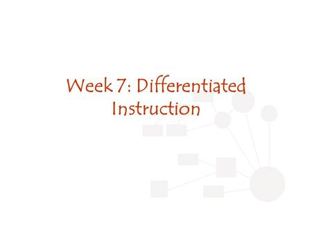 Week 7: Differentiated Instruction. Review Last week: Seamless instruction Portfolio questions? CMAP review.