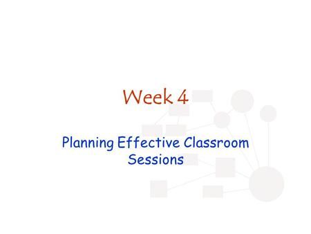 Week 4 Planning Effective Classroom Sessions. Review Blooms Wiggins ZPD Scaffolding Metacognition Problem-based learning Teaching and learning formats.