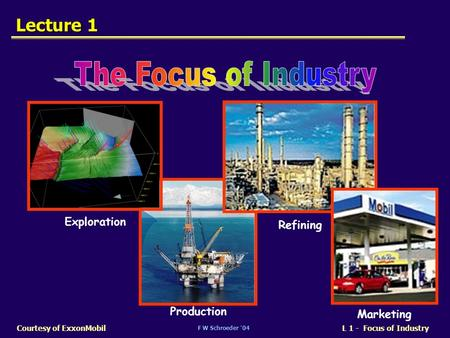 F W Schroeder 04 L 1 - Focus of IndustryCourtesy of ExxonMobil Lecture 1 Exploration Production Refining Marketing.