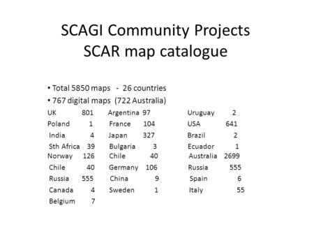 SCAGI Community Projects SCAR map catalogue Total 5850 maps - 26 countries 767 digital maps (722 Australia) UK 801 Argentina 97 Uruguay 2 Poland 1 France.
