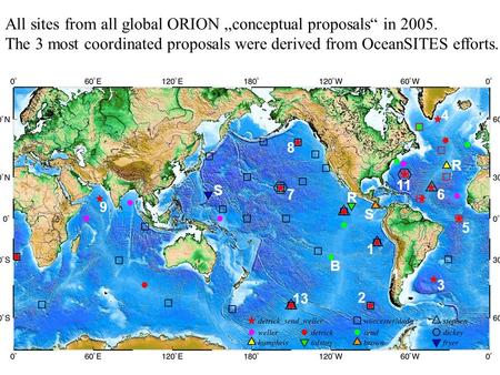 1 2 11 1 1 8 5 13 R 7 R 9 B 4 3 6 S S All sites from all global ORION conceptual proposals in 2005. The 3 most coordinated proposals were derived from.