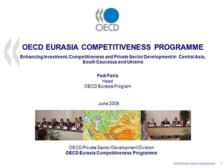 OECD Private Sector Development 1 OECD Private Sector Development Division OECD Eurasia Competitiveness Programme June 2008 Fadi Farra Head OECD Eurasia.